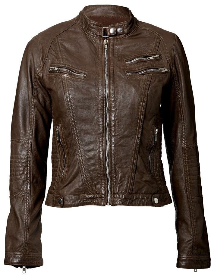 Womens Leather Jacket With Crumpled Leather For Rugged Finish Pose
