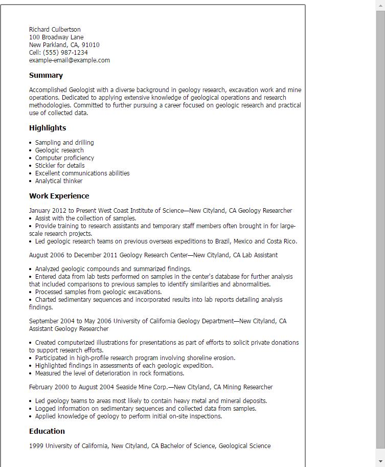 Resume Templates Geology Sample Resume Resume Geology