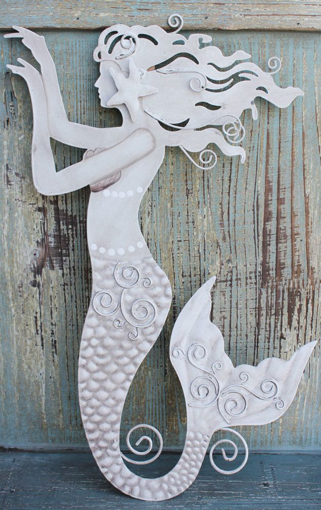 Captivating Metal Mermaid Wall Decor   Coastal Cottage Decor   California Seashell  Company