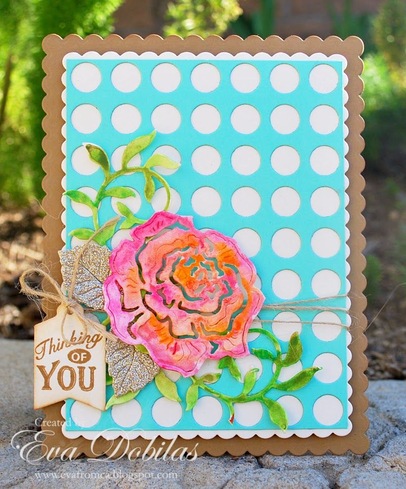 #cheeryld Hi there, this is Eva and I have a Thinking of You card to share with you today. Dies Used:  B571 Leafy Flourish CM-6 A2 Frames Rectangular Scalloped FRM116 Lattice Circle Frame B263 Tags 4 B532 Rose and Leaves  www.CheeryLynnDesigns.com