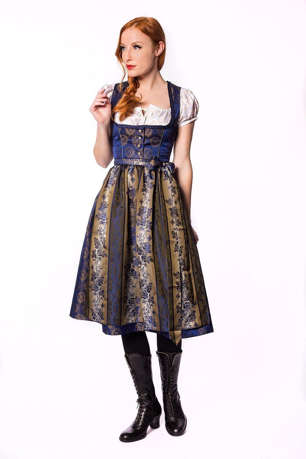 841f65997c4ab Designer Dirndl Julia Trentini Klara 70 cm blau gold | Dirndl ...