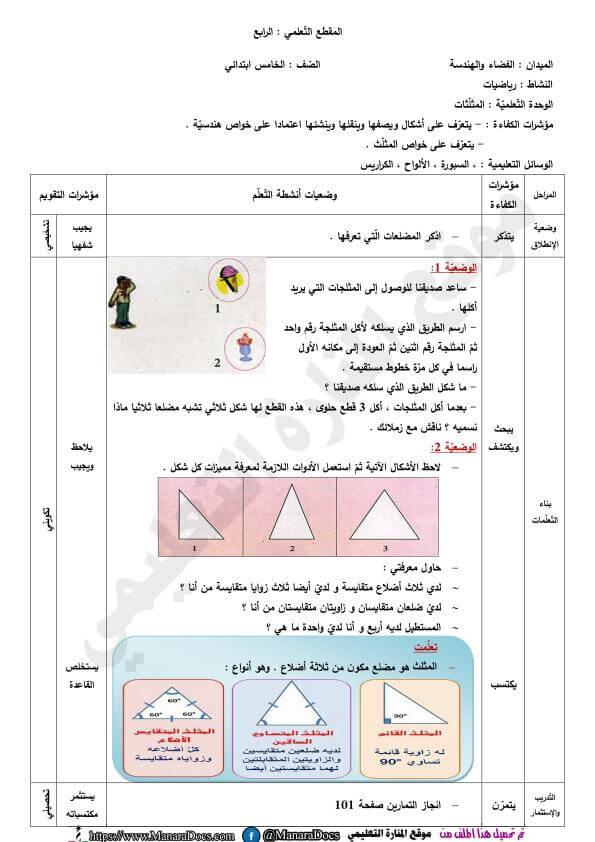 مذكرات السنة الخامسة ابتدائي مادة الرياضيات درس المثلثات Map Map Screenshot
