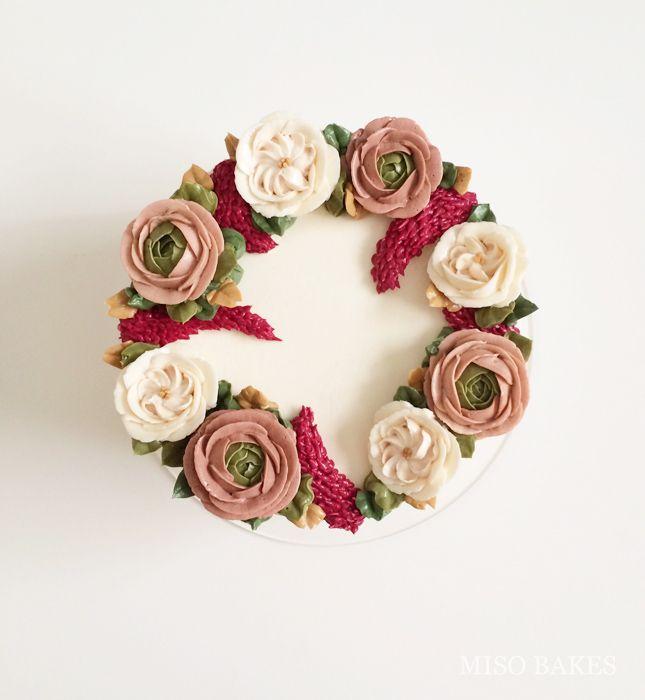 Miso bakes buttercream Ranunculus Celosia Roses Decorating