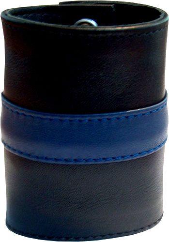 bbc1821c118e Muñequera Cartera de Cuero con Cremallera Wrist Wallet Negro Azul 20cm