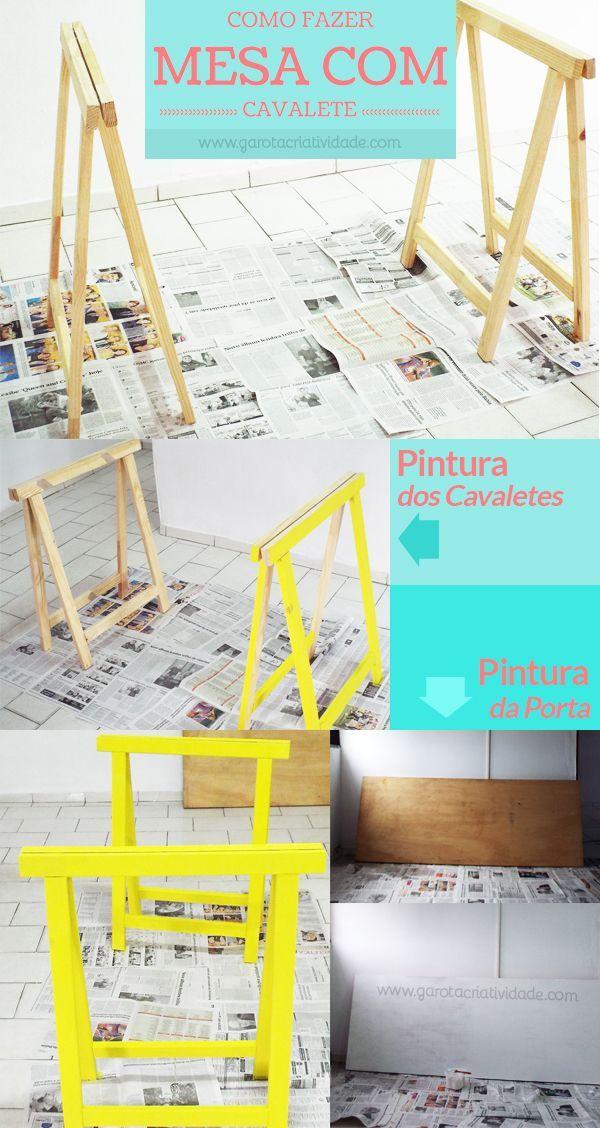 Mesa Cavalete - Como fazer mesa com cavalete - Passo a Passo: