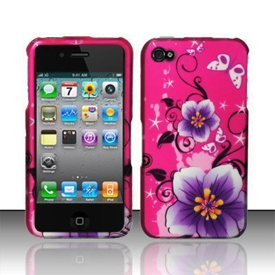 4Combo-Rubberized pink purple Hibiscus Flower Hard Case for Apple Iphone 4 4S   eBay
