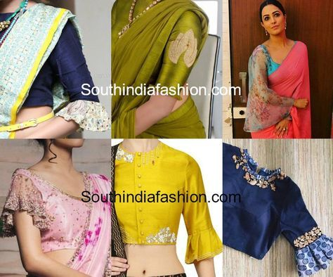 7310864c5f03fd we bring you a few of our favorite bell sleeves and ruffled sleeves saree  blouse designs to take inspiration from.