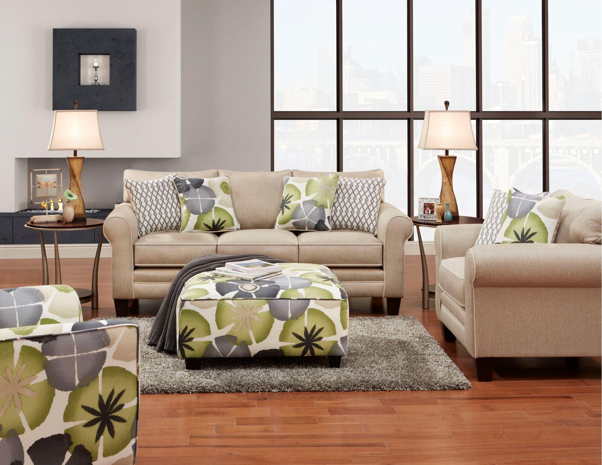Petal Platinum Gold Upholstered Casual Sofa Sofas