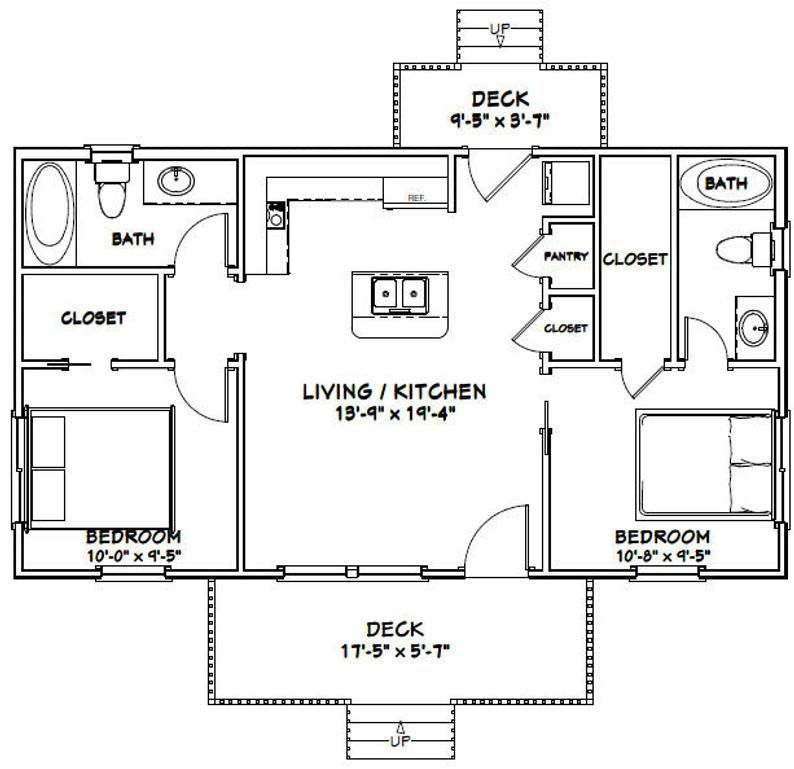 36x20 House 2 Bedroom 2 Bath 720 Sq Ft Pdf Floor Plan Instant Download Model 3a In 2021 Cottage Floor Plans Tiny House Floor Plans Guest House Plans