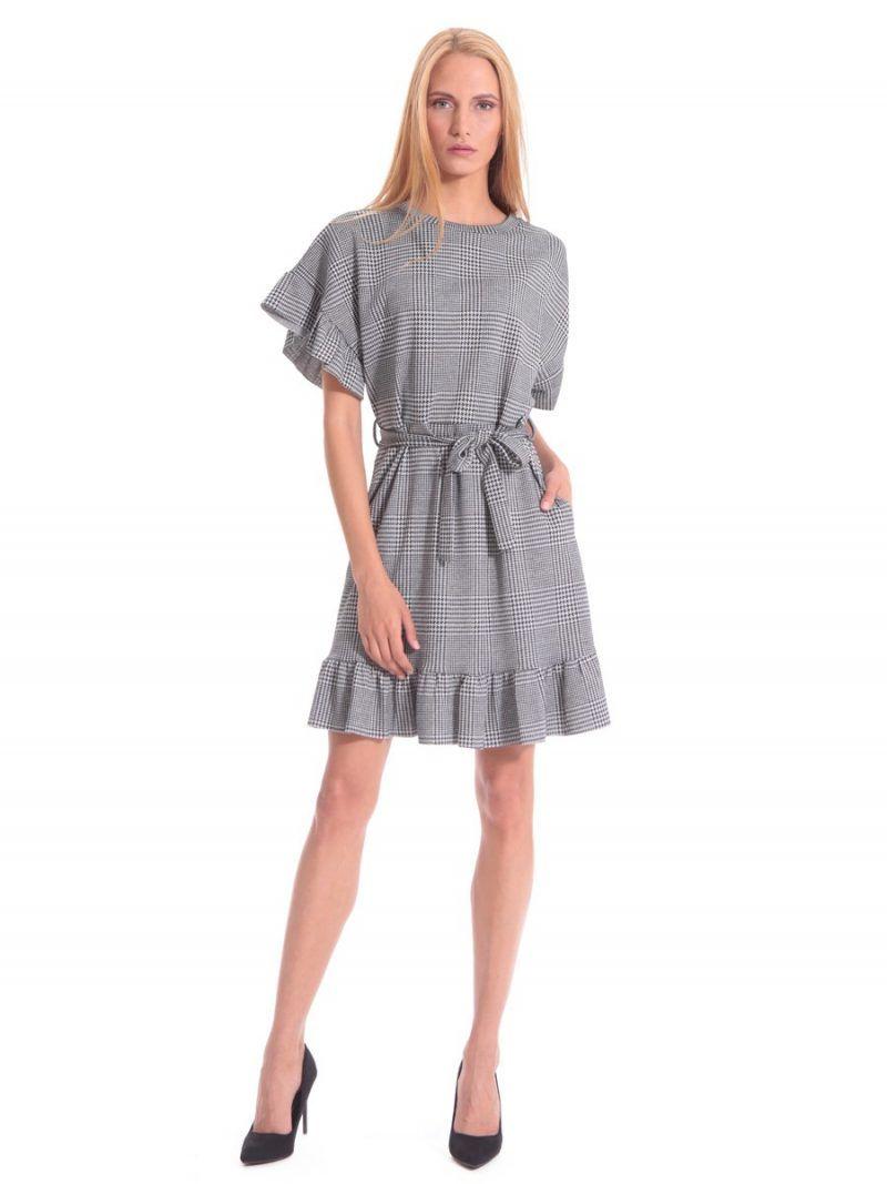 Φόρεμα καρό βολάν ασπρόμαυρο. Φόρεμα γραφείου σε ασπρόμαυρο καρό 380b0c61539