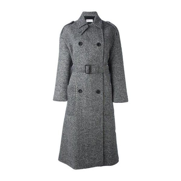 cb1e6fd6e RED VALENTINO Double-Breasted Belted Coat ($524) ❤ liked on Polyvore  featuring outerwear, coats, grey, double breasted belted coat, grey coat,  ...