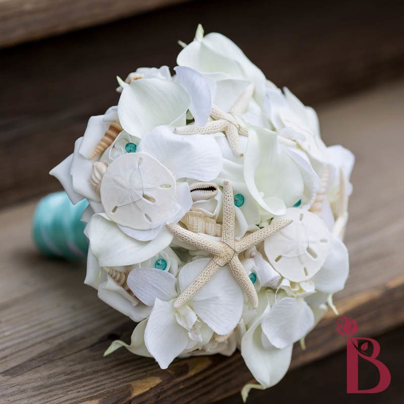 Seashell Wedding Bouquet Starfish Sand Dollars All White Orchid