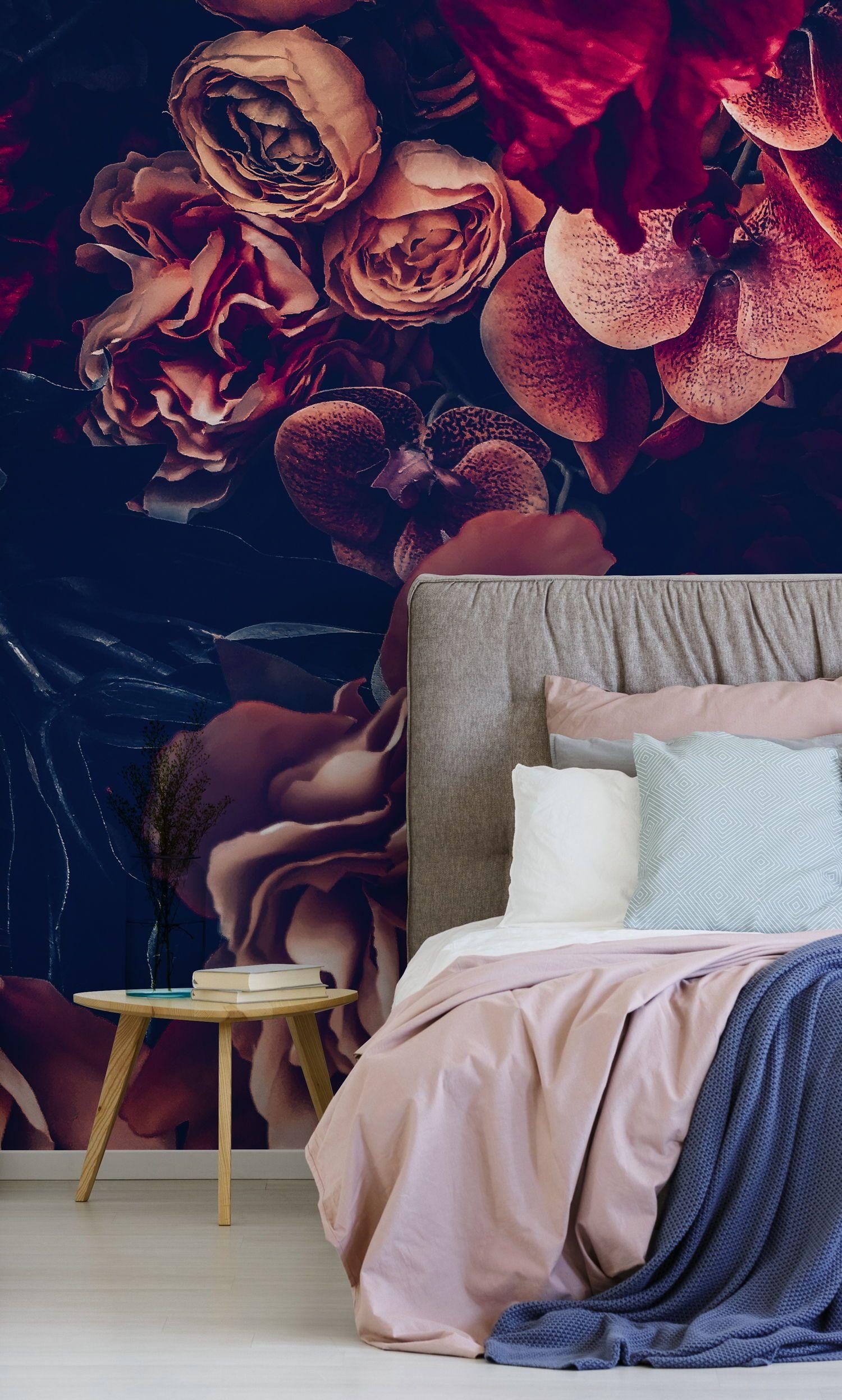 Dark Vintage Floral Wallpaper In The Bedroom Vintage Floral Wallpapers Master Bedroom Wallpaper Floral Wallpaper Bedroom