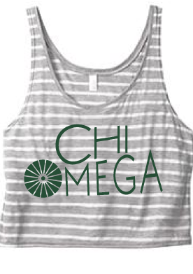 Chi O Crop Top (86264) #ChiO #ChiOmega #Hoot #Fashion #Greek #Sorority