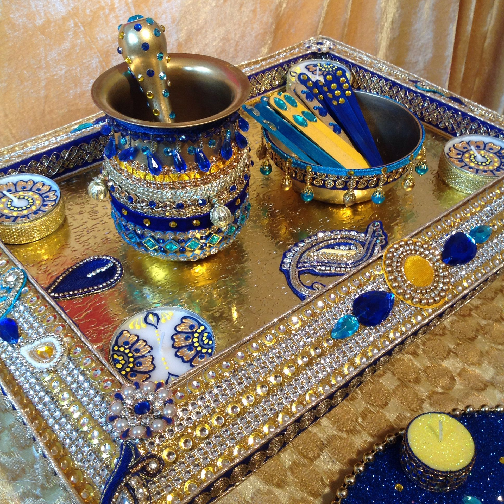 Decoration Of Mehndi Plates : Mehndi plate in royal blue and yellow see my facebook
