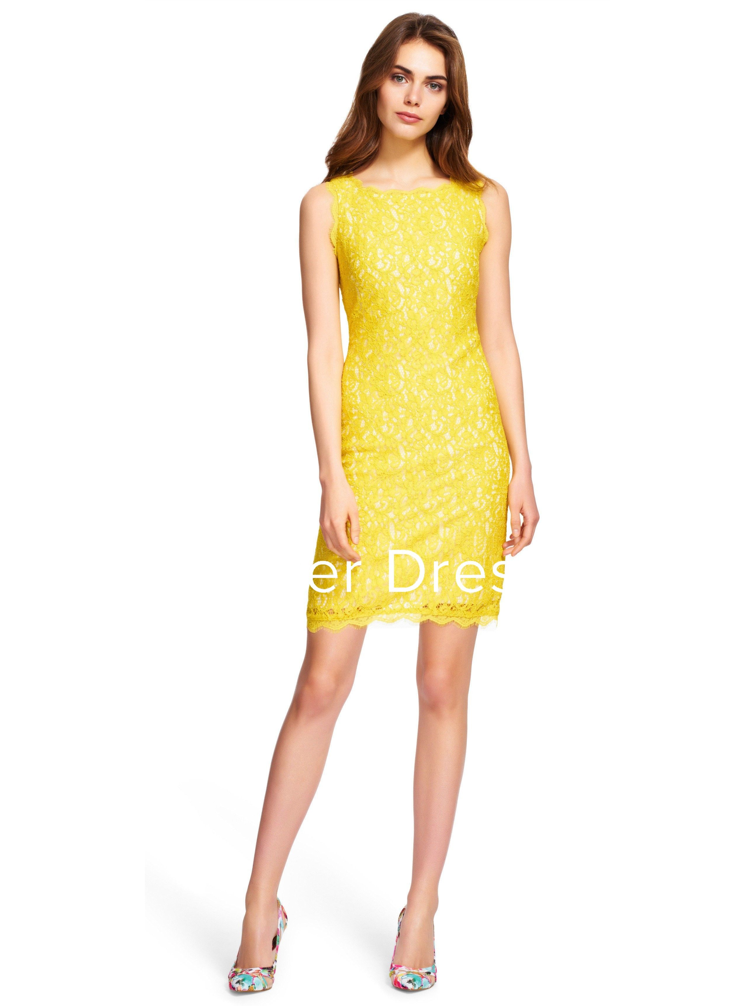 2804a4a398adf  108.69-Pretty Pencil Sleeveless Short Lace Yellow Bridesmaid Dress.  http   www