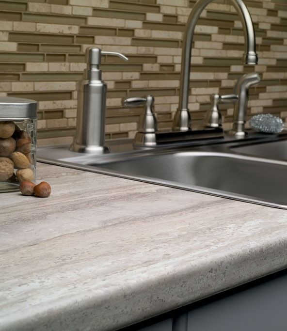 Travertine Floor White Cabinets Travertine Countertops: 3458 Travertine Silver 180fx® By Formica Group