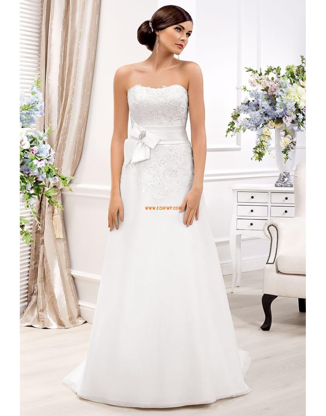 Hasta el Suelo Strapless Tallas pequeñas Vestido de Novia 2014