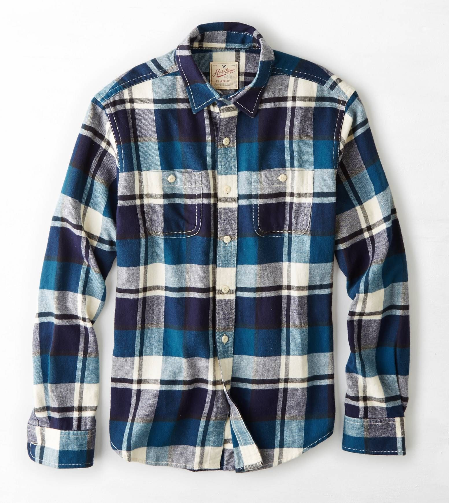 Flannel shirt men outfit  Blue AEO Heritage Flannel  for my sharp dressed man  Pinterest