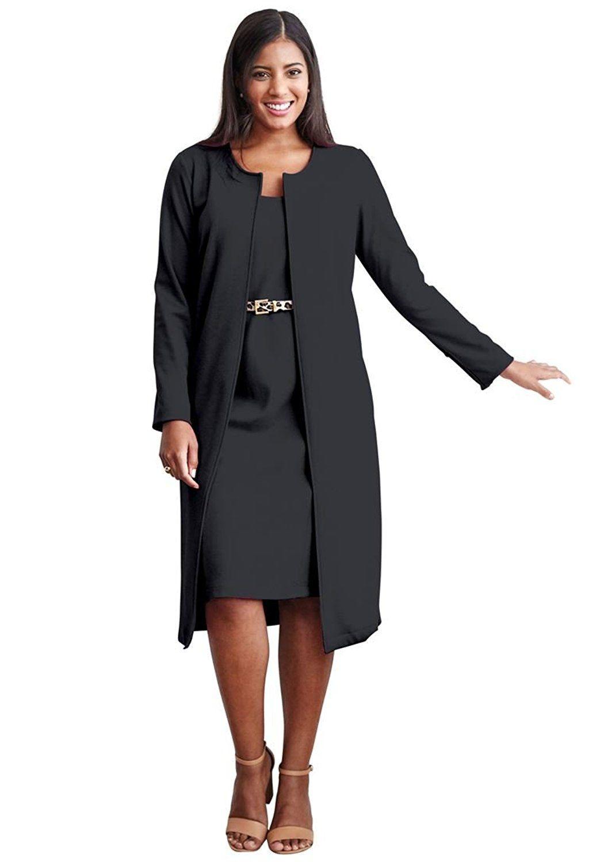 8316b6cf84395 Jessica London Women s Plus Size 2-Piece Pont  Knit Jacket Dress ...