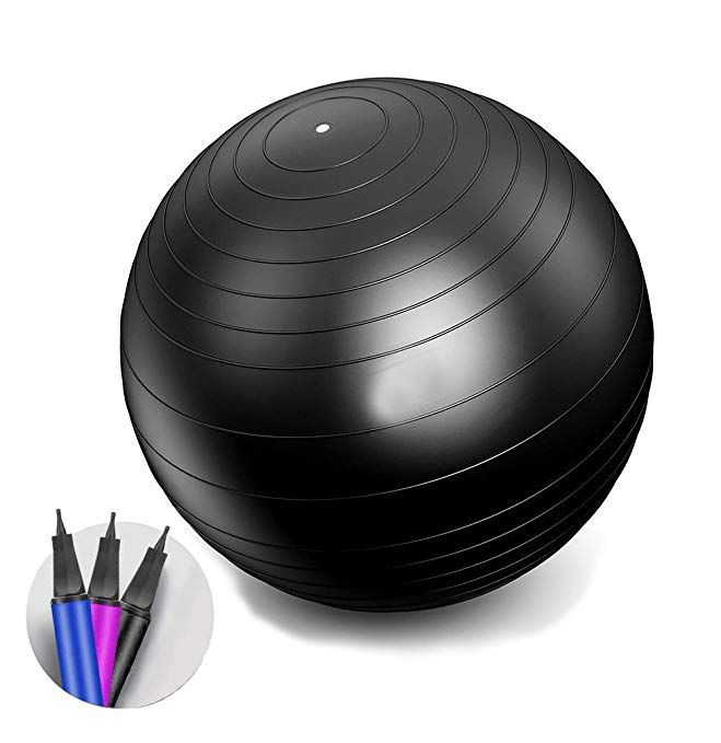 iEase Exercise/Yoga Ball with Pump Strength Stability Balance Therapy Gym Fitness Pregnancy office Birthing Ball 2000lbs Anti-Burst 65cm/75cm Balls Review