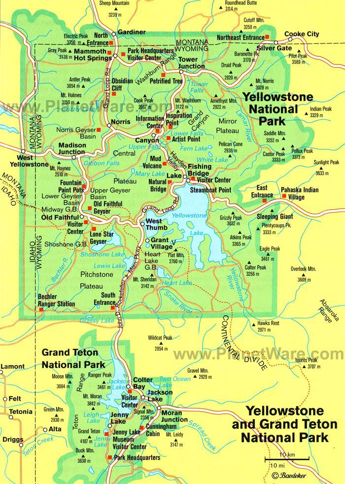 yellowstone national park Some attractions within Map of