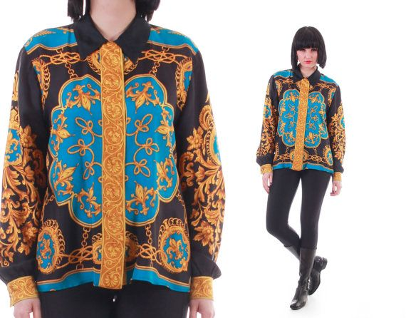 eee0858d03 Vintage Silk Baroque Button Down Blouse Royal Trophy Swag Scarf ...