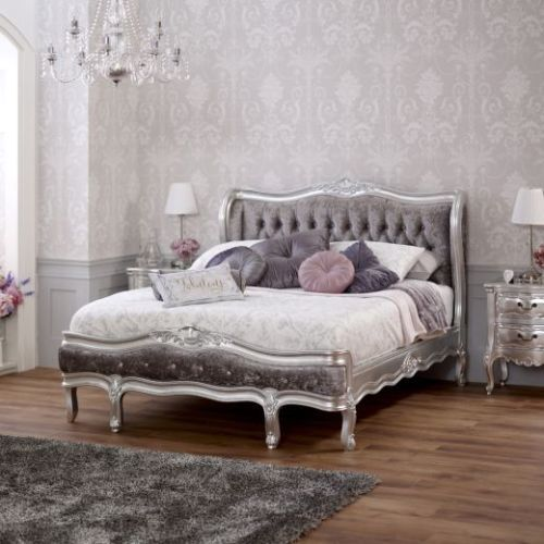 French Silver Leaf Upholstered 4ft 6in Double Crushed Velvet Bed Velvet Bed And Crushed Velvet