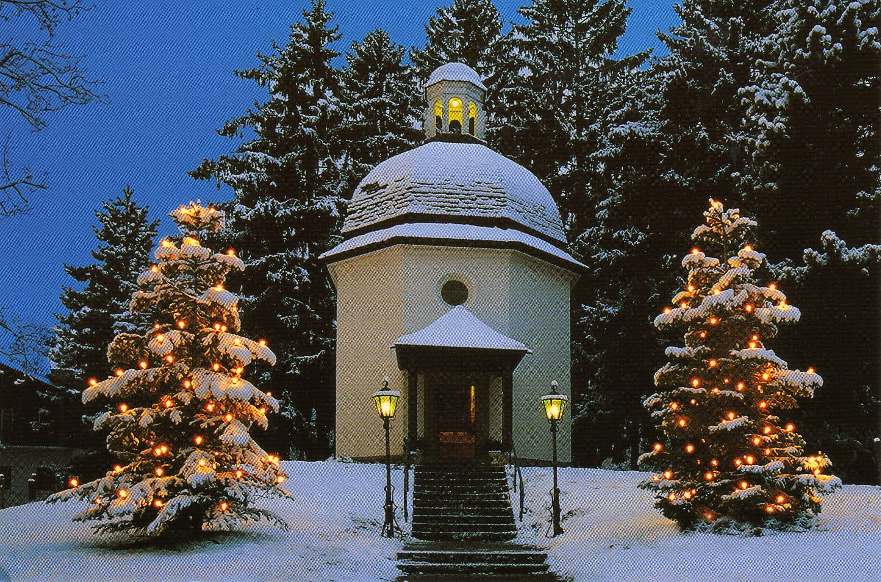 """""""Stille Nacht Kapelle"""" - The Gruber-Mohr Memorial Chapel, at the original performance location for """"Silent Night"""" ... the wonderful carol was completed on Christmas Eve, 1818, and performed on Christmas Day at the Saint Nicholaus Kirche on this site. The church was lost to fire in the early 1900's and the memorial chapel was built in its place in 1937. Oberndorf, Austria - near Salzburg."""