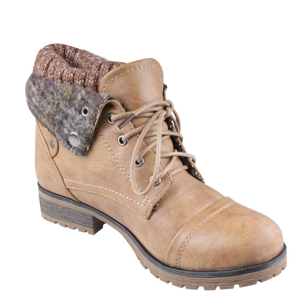 97c299309f2 Amazon.com: REFRESH WYNNE-01 Women's combat style lace up ankle ...