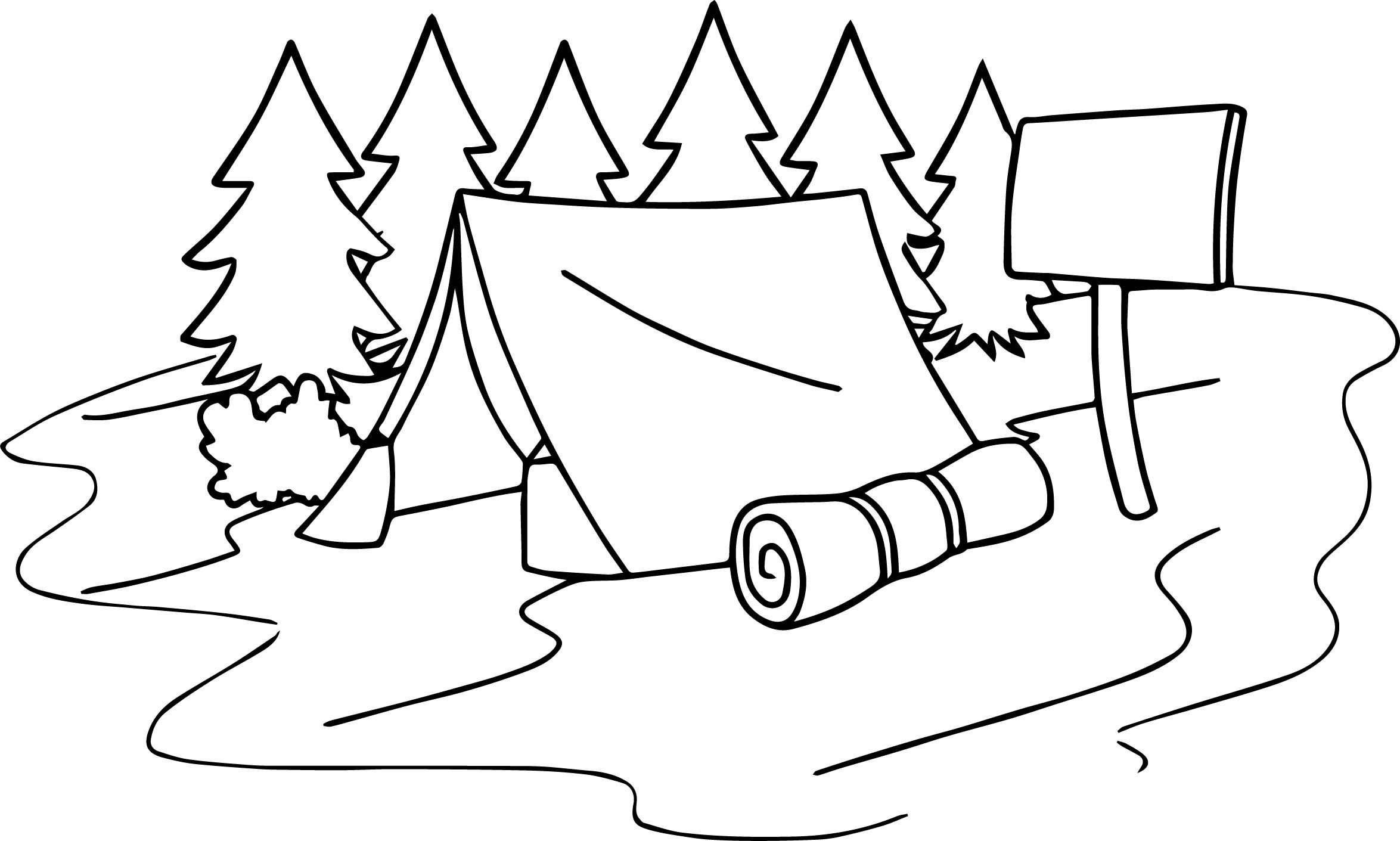 Awesome Summer Camp Tent Sleeping Bag Camping Coloring Page