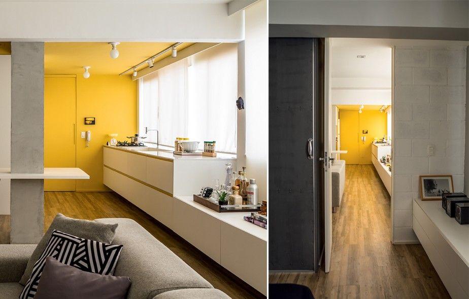 A arquiteta Roberta Martins desenhou um armário baixo contínuo de 12,40 m de largura, que começa rente à área de serviço, atravessa o living e se estende até o fim do quarto do casal