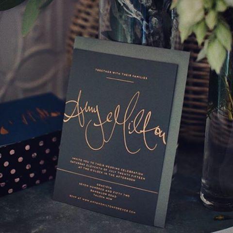 Elegant Wedding Invitations Copper Foil On Dark Grey Stock