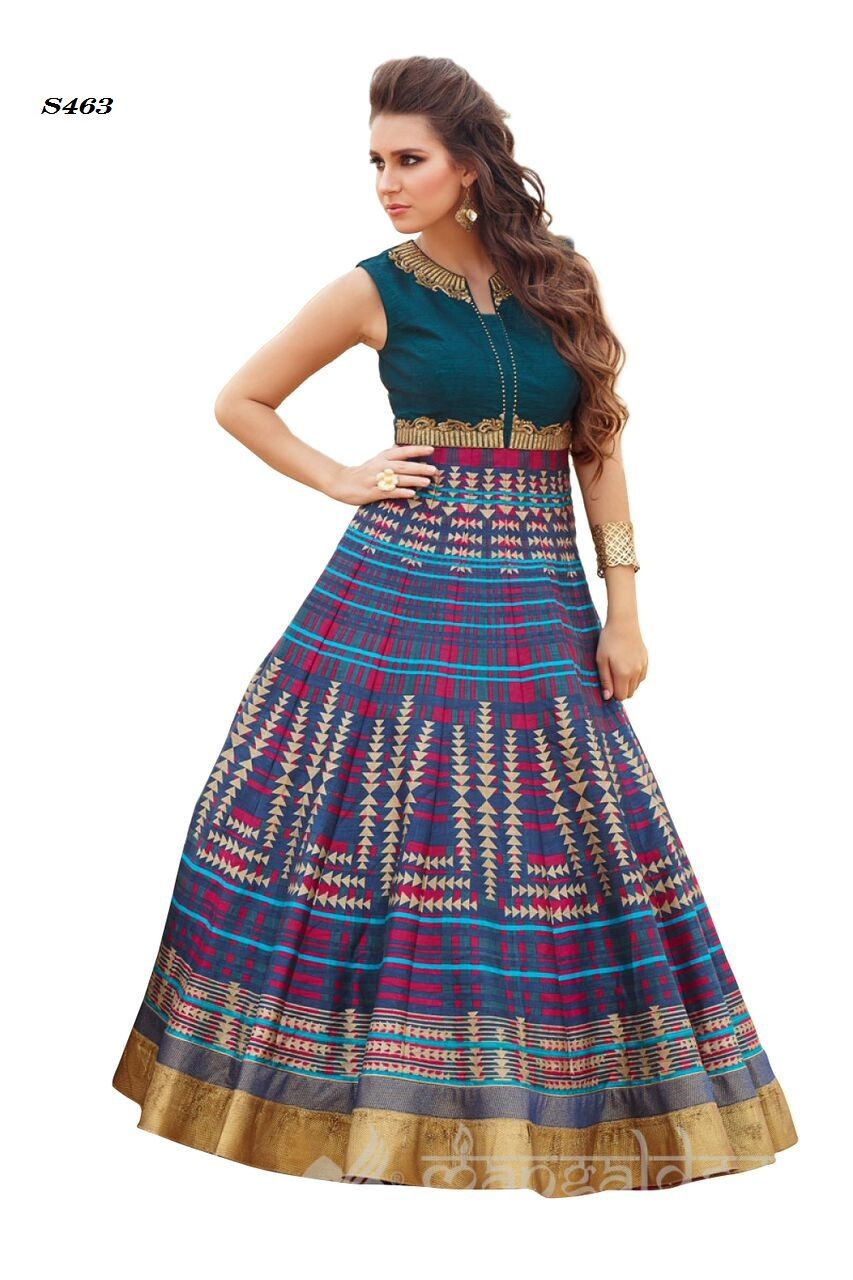 Price @5100.00 INR  Colour : Dove Blue  Fabric : Raw Silk  Work : Round Neck, Sleeveless, Printed And Embroidered  Multi Colour Digital Printed Designer Dress With Zari Work On Bodice.