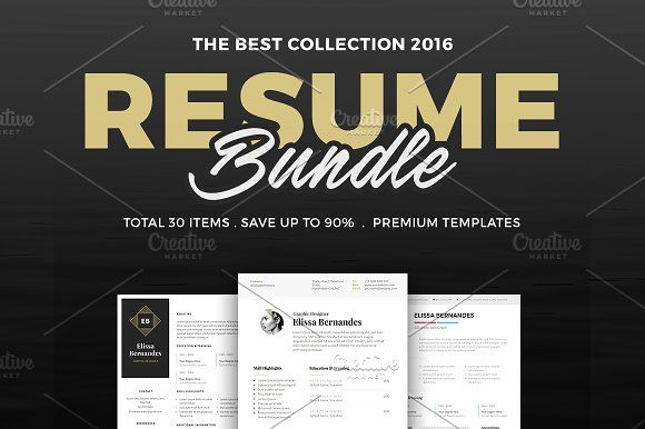 30 Best Selling Resume MEGA Bundle! by Elissa Bernandes on @creativemarket