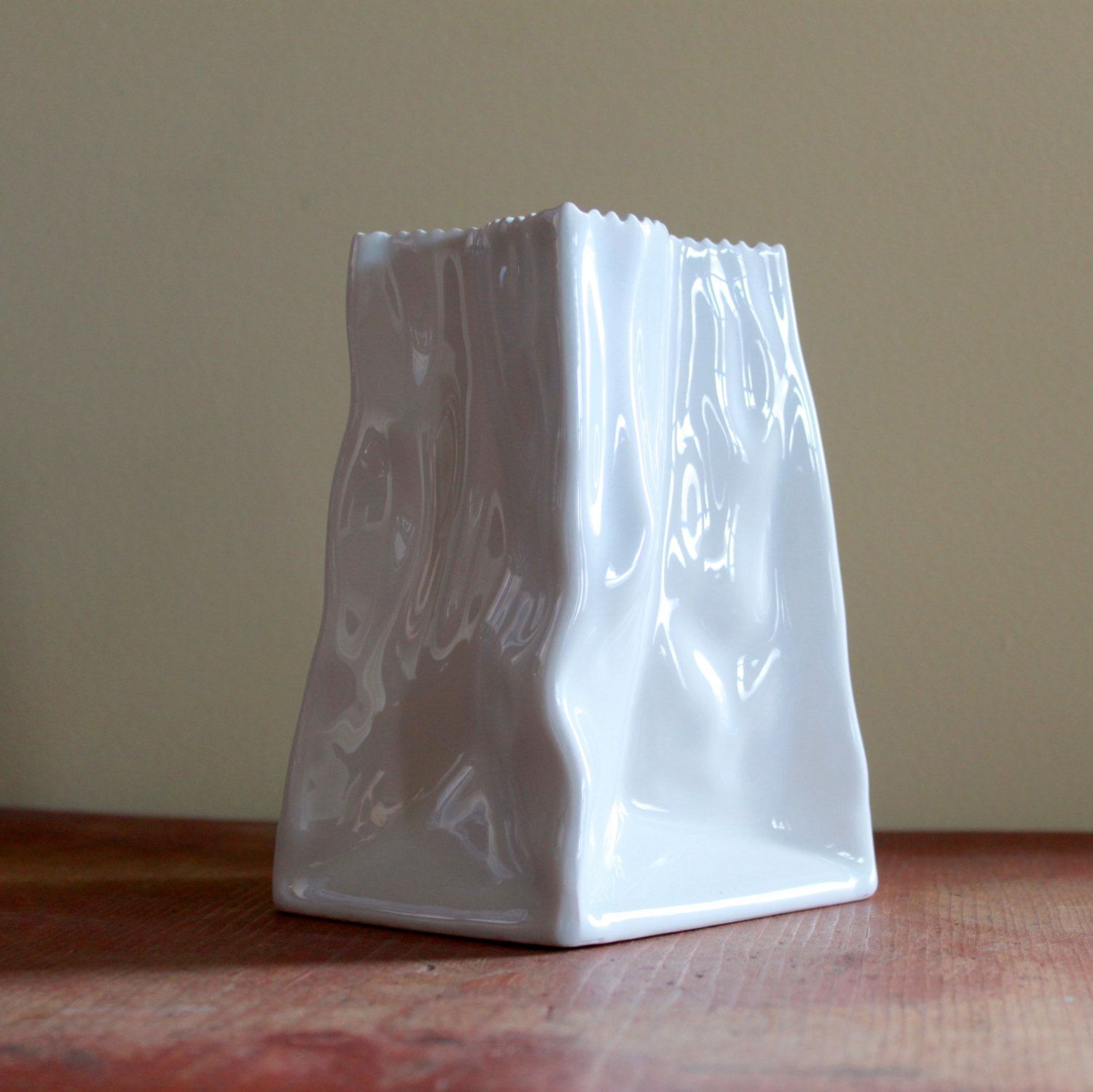 Modern retro white ceramic vase wrinkled paper bag shape 2400 modern retro white ceramic vase wrinkled paper bag shape 2400 via etsy reviewsmspy