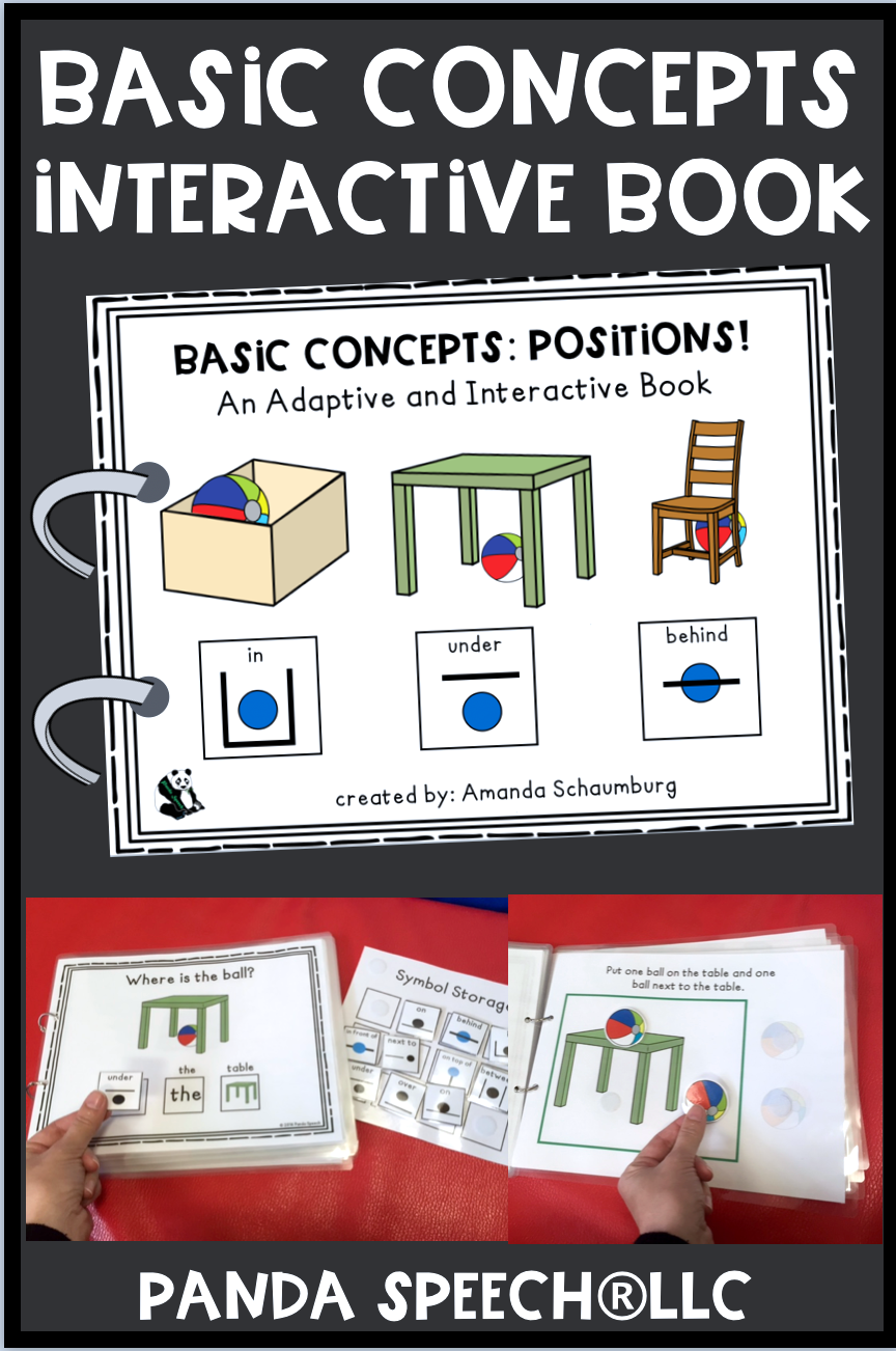 Basic Concepts Book Positions Vocabulary Book Interactive Book Speech And Language