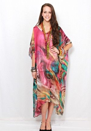 4dae15091e44 Amalfi long kaftan by LALOOM in flurry print. Stunning fabric design for  the perfect summer party wear