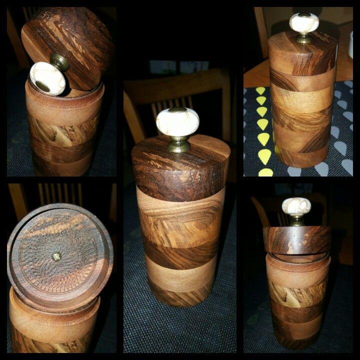 Woodturning walnut ingredients box