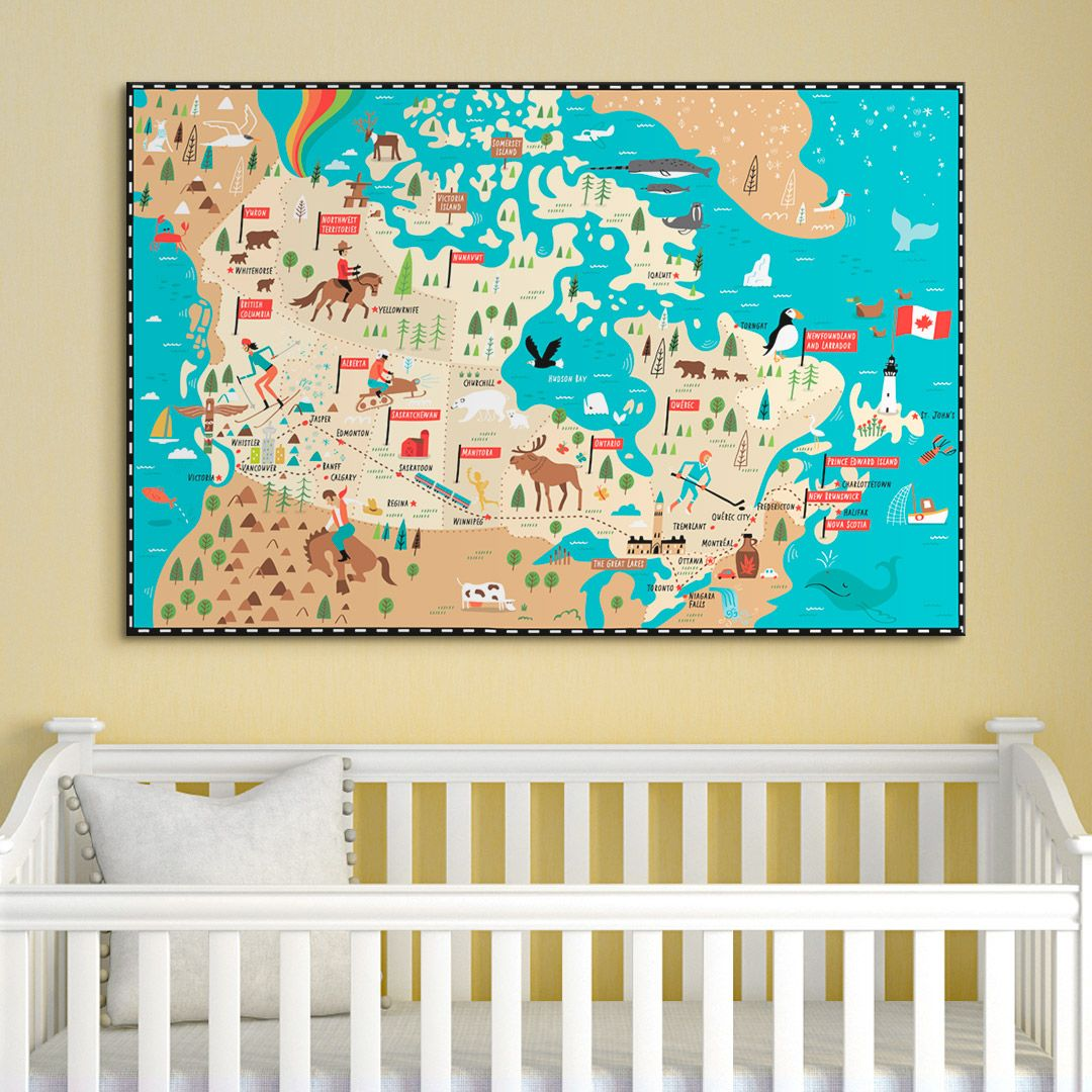 Illustrated Map of Canada | Illustrated maps, Canvases and Framed prints