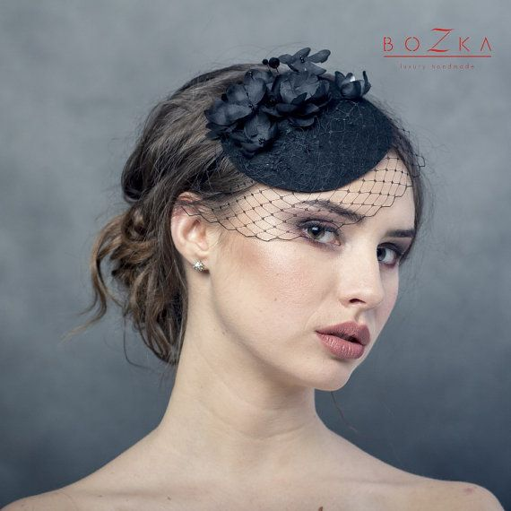 3e5eec6653ab7 Black fascinator with handmade silk flowers and netting