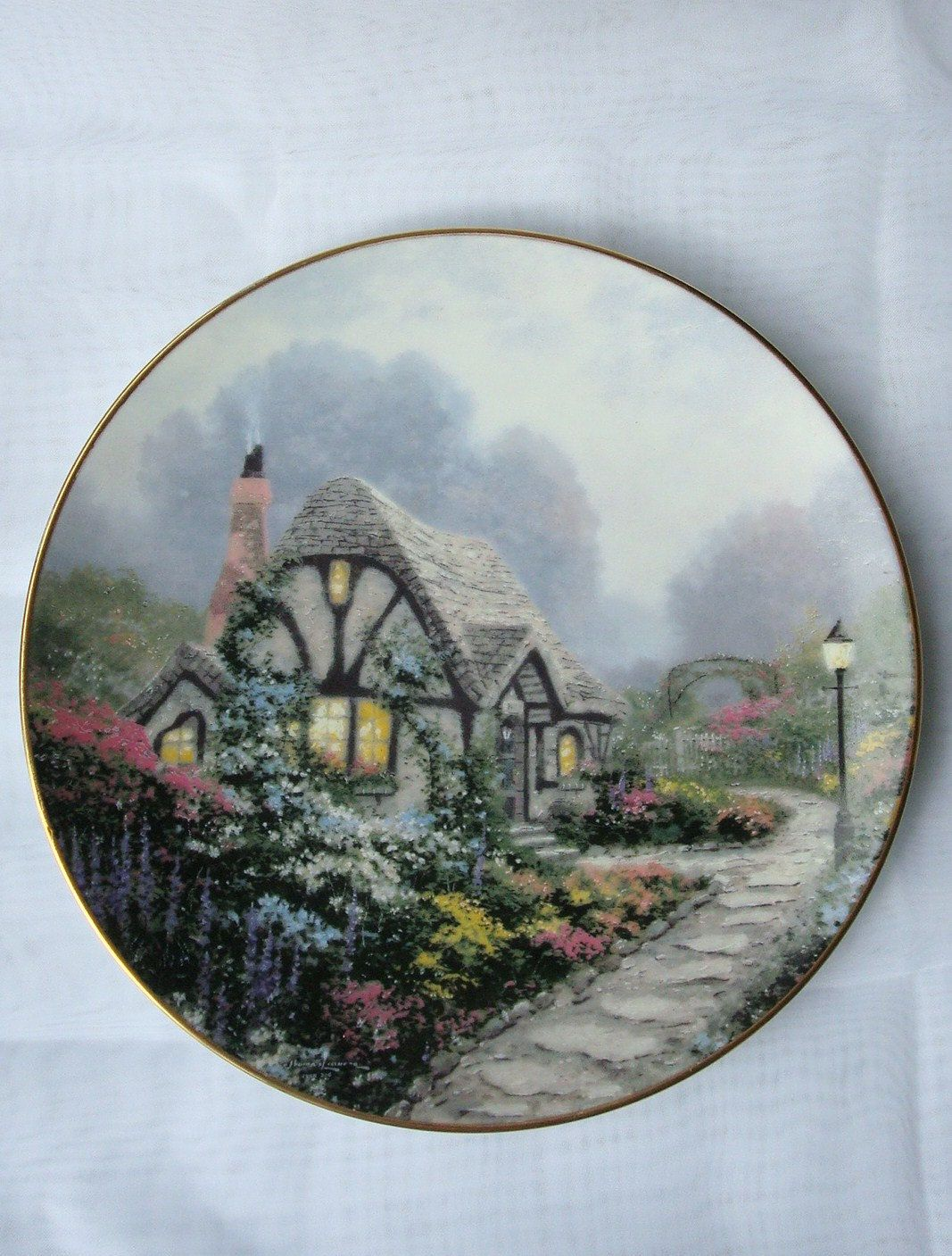Chandleru0027s Cottage by Thomas Kinkade Limited Edition Collector Plate by Edwin M Knowels 1991- & Chandleru0027s Cottage by Thomas Kinkade Limited Edition Collector Plate ...