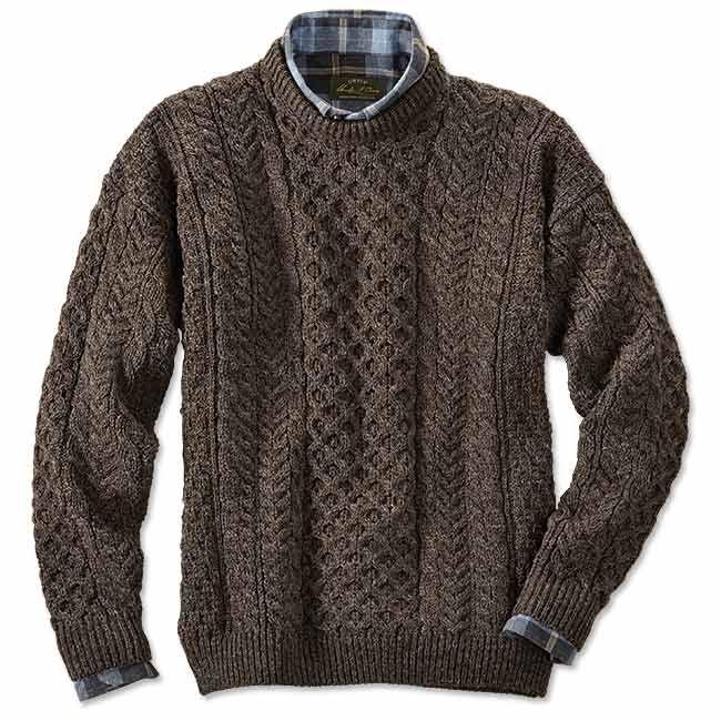 Cable Knit Crew Neck Sweater Black Sheep Irish Fishermans Orvis