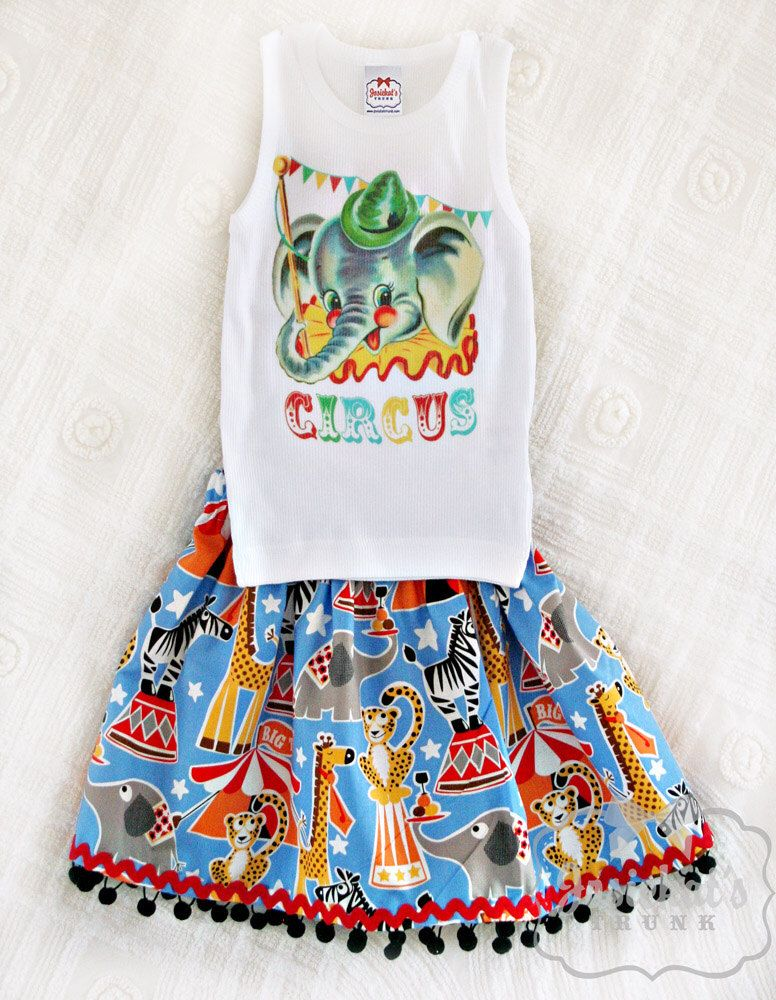 Circus Party Skirt Outfit Retro Custom Size Newborn to 3T Infant Toddler Big Top Birthday Vintage by josiekatstrunk on Etsy https://www.etsy.com/listing/181293047/circus-party-skirt-outfit-retro-custom