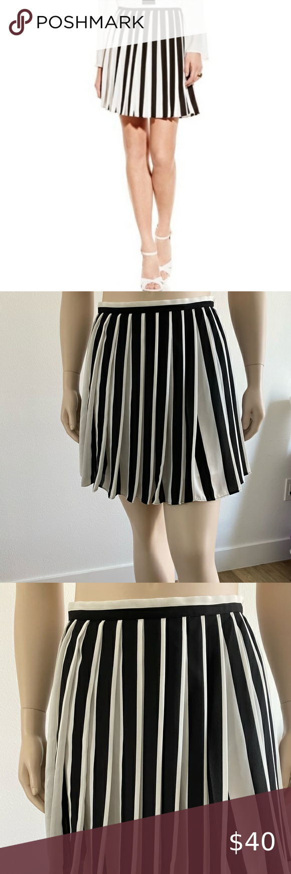 Vince Camuto Women's Pleated Skirt White/Black