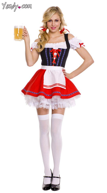 Ladies Bavarian Maid Costume Oktoberfest Fancy Dress Womens Beer Lederhosen