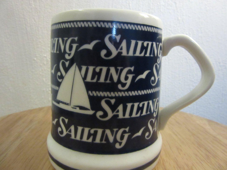 Vintage Sailing Mug Nautical Coffee Sailboat Themed By Unbrokenpast