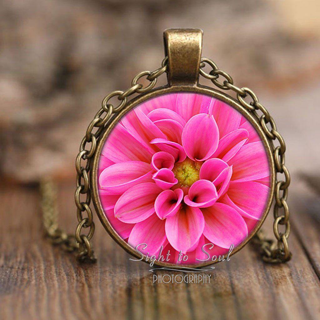 Pink Dahlia Necklace, Flower Pendant, Photo Jewelry