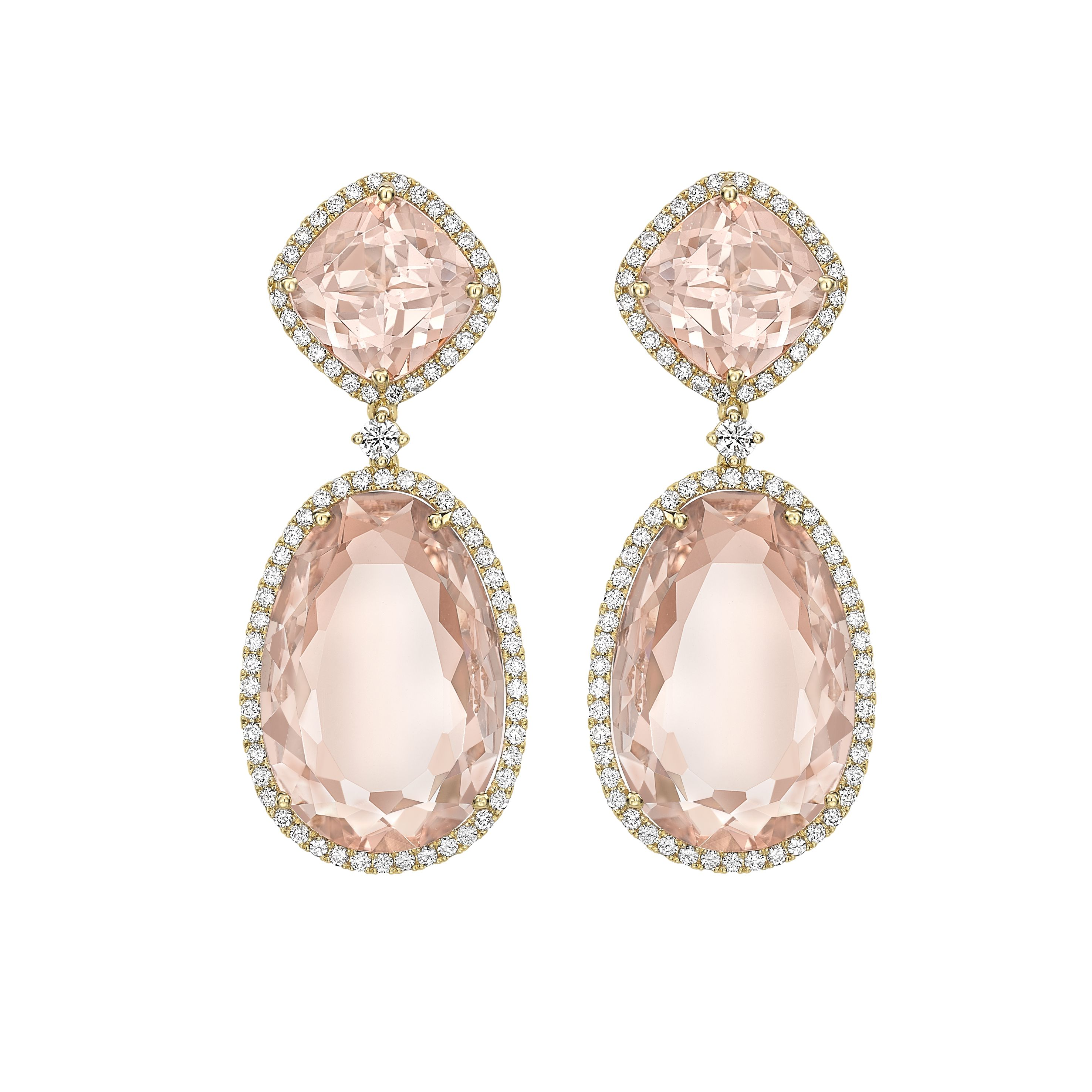 Morganite Double Drop Earrings