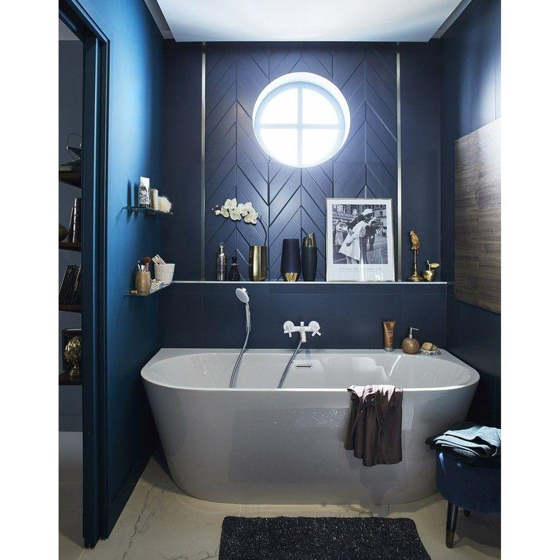 Faience Mur Bleu Decor Home Chevron Mat L 40 X L 80 Cm Baignoire Design Idee Salle De Bain Salle De Bain Art Deco